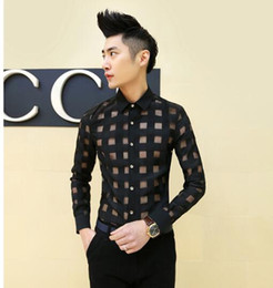 Wholesale- new mens clothing see through sexy male dress shirts slim fit man lace designer mens floral shirt,white black,M-XXL