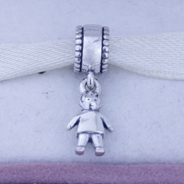 Loose beads 925 Sterling Silver Screw Core Dangle Spacer Charm Bead Jewelry with Boy Child Kids, Suitable for Pandora Bracelet 1pc lot