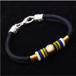 Original ethnic design Hand woven handmade colorful knot navy string silver bead lucky Chinese knot bracelet