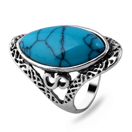 New Vintage Jewelry Brand New Women's Silver Rings With Four Color Turquoise Gemstone Silver Of 925 Rings Rose Bling Ring