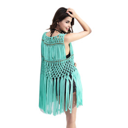 Wholesale Cardigan Out Wear - Beach Cover up Tassel Knitted sleeveless Chiffon Blouse European and American Fashion Summer Long Cardigan Hollow Out Beach wear