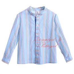 2018 Cutestyles New Autumn Mandarin Collar Boys Casual Striped Shirts Full Sleeves Single Breasted Children Everyday Clothes B-DMBT906-802