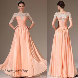 Free Shipping Peach Evening Dress New A Line High Neck Chiffon Long Formal Party Gown With Sleeves