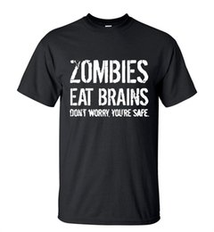 Wholesale Men s New Arrival T Shirt Zombies Eat Brains Don t Worry You re Safe Summer Short Sleeve Streetwear Tee Casual