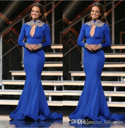 Mermaid Long Sleeve Royal Blue High Neck 2016 Red Carpet Celebrity Evening Dresses
