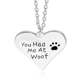Wholesale you had me at woof pet lover cant dag paw Print Heart pendant Necklace heart shaped pendants Jewelry sample nacklaces for women