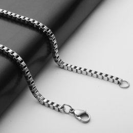 Wholesale Stainless steel necklace pendant titanium steel necklace chain box chain distribution via DIY accessories American men trade small