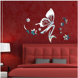 Wholesale Modern Butterfly Style Mirror Wall Stickers Living Room Bedroom Decorate Wall Stickers Acrylic Mirror D Stickers