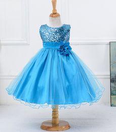 Sequined Dress Baby Girls Flower Bow Belt Gauze Tutu Dress Lace Shiny Princess Dress 100-160CM For Toddler Baby Girls XREY208