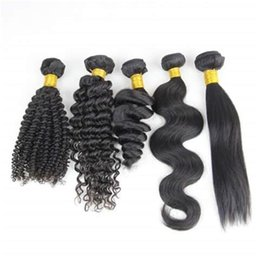 Brazilian Hair Weave Human Hair Bundles Curly Human Hair Weave Straight Body Wave Loose Wave Kinky Curly 3pcs Hair Extensions Natural Bla
