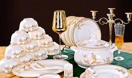 China réglé 56 en Ligne-Livraison gratuite!!! AAAA réel 56 os China Kitchen Vaisselle Sets Avec Pot pot Swan Lake