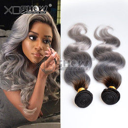 Wholesale Rosa Silver Hair Weave Malaysian Ombre Body Wave Virgin Hair b grey Two Tone Human Hair Bundles quot quot Mixed Good Quality