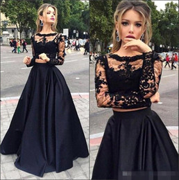New Black Two Pieces Evening Dresses Sheer Long Sleeves Lace Top Satin A line Floor Length Prom Dresses