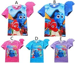 Wholesale Finding Dory Kids Baby Summer Tee Shirts Styles Nemo Dory Cartoon Top Tees Kids Short Sleeve Cotton Tshirts For T