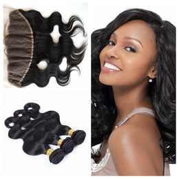 Big Discount real brazilian human hair weave and body Wave Lace Frontal 13 x 4 with Baby Hair G-EASY