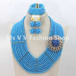 african beads jewelry set 10 rows handmade necklace bracelet earring sets match for nigerian wedding women aso oke ebi lace design gift