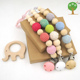 Wholesale 3pcs Sale Blue Pink Green Crochet Beads Baby Birth Gift Pacifier Clip Dummy Holder Natural Wooden Beads with Wooden Elephant Toy ST001