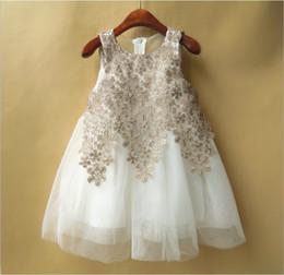 High Quality 2016 New Gold Girl Summer Lace Stitching Dress Children Sleeveless Vest Princess Dresses Kids Lace Gauze Dress Cute Girl dress