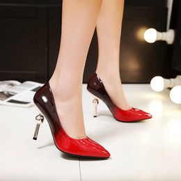 2018 big size 33-44 new spring sexy style patent leather pointed toes stiletto heel slip-on party wedding women pumps dress shoes 1903-5
