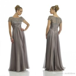 Wholesale Short Formal Pink Chiffon Dresses - 2016 New Gray Beach Mother Of The Bride Dresses Sheer Neck Short Sleeve Beading Floor Length Formal Mother Dress Wedding Guest Gowns Cheap