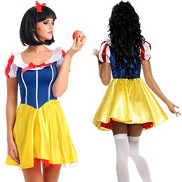 Wholesale Costumes For Short Women - Adult Snow White Costume Cosplay Fantasia Halloween Costumes For Women Princess Dress Fancy Party Dress Wholesale Halloween Clothes
