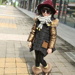 Wholesale Hug Me Baby Girls Cotton padded jacket New Autumn Winter Warm Fur Collar Outerwear Coat AA
