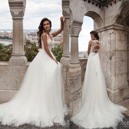 Milla Nova Wedding Dresses Lace Sleeveless Backless Soft Tulle Beach Bridal Gowns Custom Made Sweep Train A-Line Wedding Dress With Bow