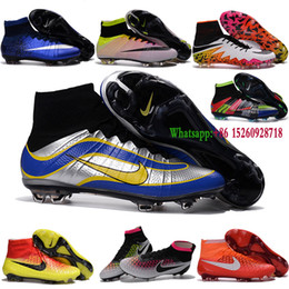 Wholesale New Indoor Soccer shoes Magista Superfly FG Football Boots Mens High Ankle Soccer Cleats CR7 Superfly FG AG Original hypervenom II Blue
