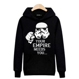 Wholesale Your Empire Needs you in Star Wars Mens Long Sleeve Hoodies Mens Hip Hop Hoodies and Cute Sweatshirts Gray Black xl