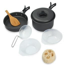 Wholesale High Quality Portable Non stick Pots Pans Bowls Outdoor Camping Hiking Cooking Set CookwareS