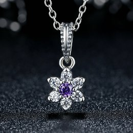 Forget-Me-Not Flower Dangle Charms in Genuine 925 Sterling Silver with Purple & Clear Stones for Pandora Style Beaded Charm Bracelets S293