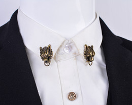 Wholesale Retro domineering Korean leader brooch cartoon animal zodiac shirt collar pin buckle collar button Blood Brothers Custom Accessories