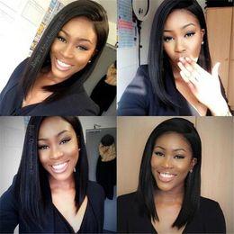 Peruvian Silk Straight Hair Bob Wig 100% Unprocessed Human Hair Short Bob Upart Wigs Glueless Sise Part For Black Women