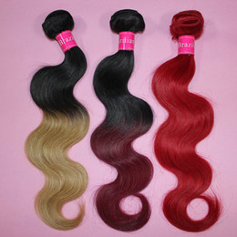 Promotion 12 24 extensions Ombre Hair Extensions Brésilienne Body Wave Cheveux humains Weave Two Tone Weft 1B Brown Bloned Red Blue Purple Péruvien Hair Bundles