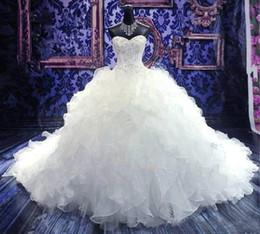 Luxury Beaded Embroidery Bridal Gown Princess Gown Sweetheart Corset Organza Cathedral Train Ball Gown Wedding Dresses Cheap