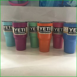 Wholesale 7 Colors Stain Steel oz Yeti Cups Cooler Colster YETI Rambler Tumbler Cup Vehicle Beer Mug Double Wall Bilayer Vacuum Insulated ml