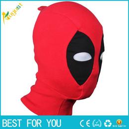 Traje de cuero completo en Línea-PU Cuero Deadpool Máscaras Superhéroe Balaclava Halloween Cosplay Traje X-men Sombreros Sombrero Flecha Partido cuello Capucha Máscara facial