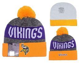 Wholesale VIKINGS Football Beanies Team Hat Winter Caps Popular Beanie Caps Skull Caps Best Quality Women Men Warm Sports Caps Allow Mix Order