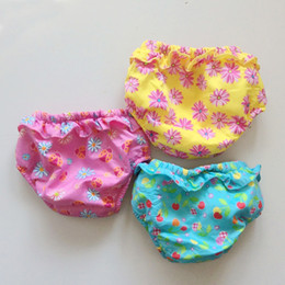 10pcs lot (0-2Y) infant swimming baby girl swim diaper baby floral swim diapers with ruffles lady bug daisy cherry bikini bottom free ship