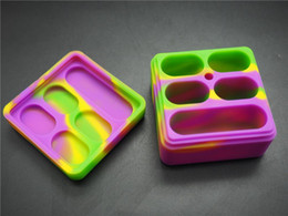Hottest new 4+1 set big size non-stick silicone container wax box colorful food grade reusable silicone wax jar free shipping