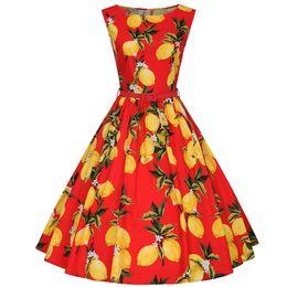 Newest Lemon Print with Flattering bateau neckline sleeveless audrey hepburn style swing dress