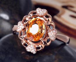 Wholesale Solid K Rose Gold Natural Ravishing Yellow Citrine Diamond Wedding Gift Ring