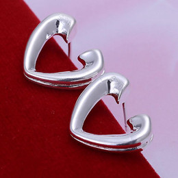 ESE065 Wholesale silver plated earrings , Factory price 925 stamped fashion jewelry Half Heart Earrings E065  aifaizma