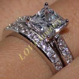 Lady's 925 Silver Princess-cut White Sapphire CZ Stone Wedding Ring Set for Women Two Layers Size 6-11