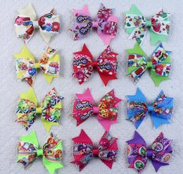 Wholesale 3inch Grosgrain Ribbon Bows Hair Clips Shop Fruits Family Baby Kids Bowknots Hair Pins Designs Kids Barrettes Boutique Hair Accessories