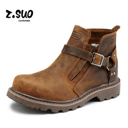 Wholesale Winter New z Suo Motorcycle Boots Cowboy Boots Fashion Boots Outdoor Boots Hot Brown Crazy Horse Outdoor Casual Walking Work Jobs Shoes