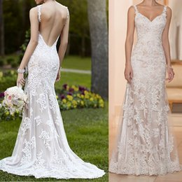Wholesale 2017 Modern A line Floor Length Fully Lace Appliques Wedding Dresses with Spaghetti Straps Deep V Neck and Share Back zipper up Briidal