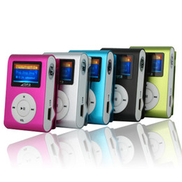 Wholesale USB Mini Clip MP3 Player LCD Screen Support GB Micro SD TF Card Radio with charger and earphone New