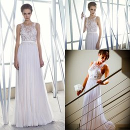 Wholesale DHgate Login Custom Made High Quality White Lace Beads Beach Garden Wedding Dresses Spring Summer Autumn Suits Jewel Neckline Pleats Bride