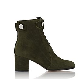 Wholesale Free ship arrival brand new GR green suede lace up Finlay ankle boots women fashion boots high heels women boots